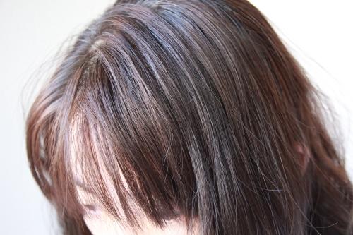 DHCヘアカラー塗布後の髪