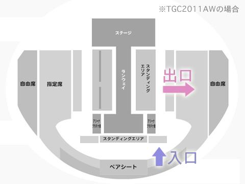 東京ガールズコレクション入り口と出口の図