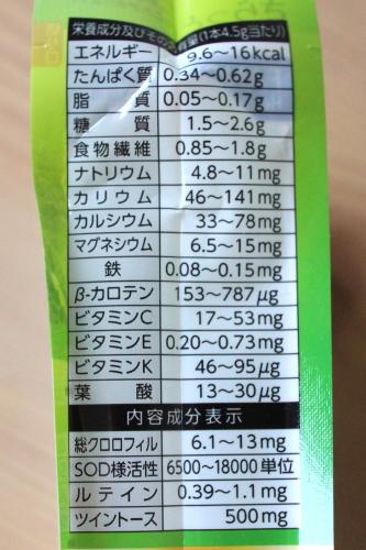 ファンケル青汁栄養成分