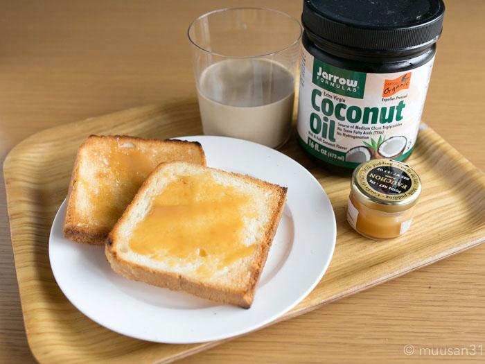 ココナッツオイルを塗ったパン
