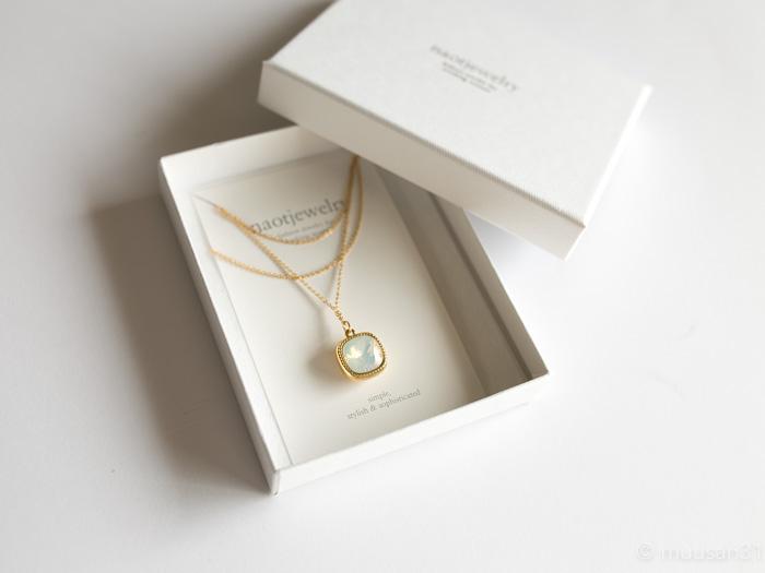 naotjewelry Swarovski Square Frame Necklace